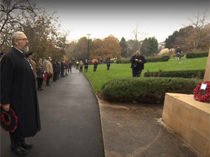 Mayor Kevin Cranston by the Cenotaph in Park Gardens
