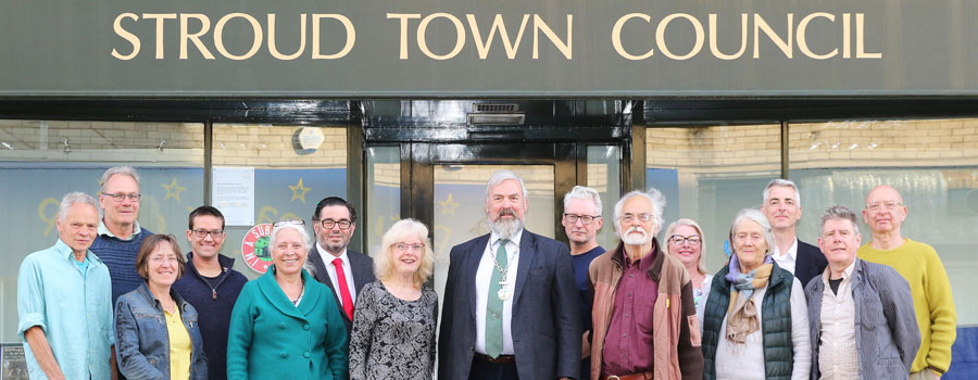 Councillors standing outside the town council office
