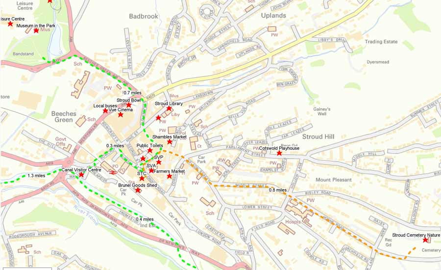 Visitor Map of Stroud town